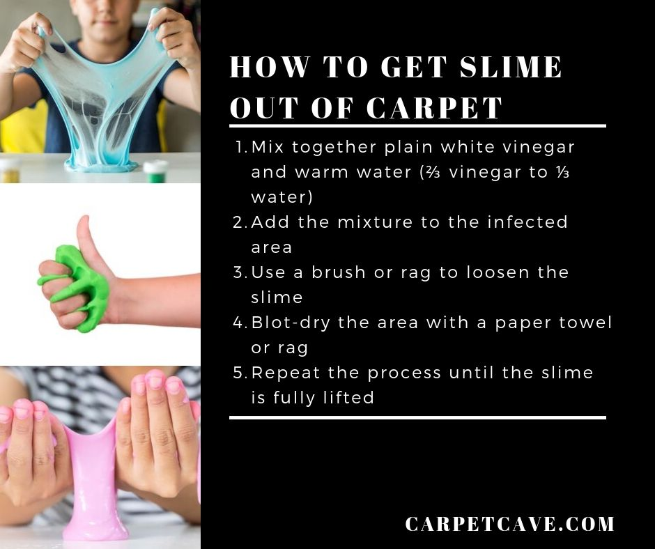 Infographic on how to get slime out of carpet